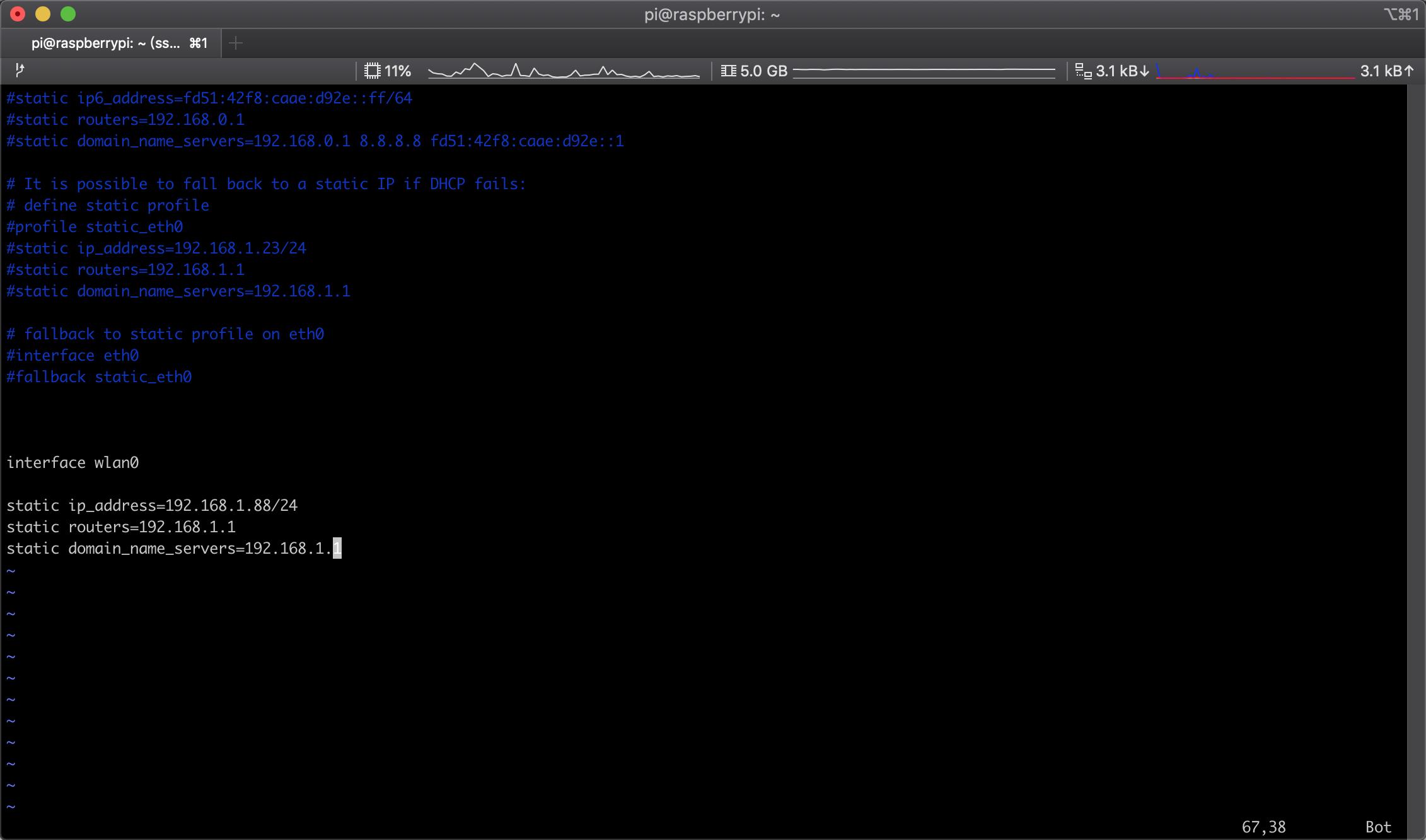 树莓派设置静态IP地址